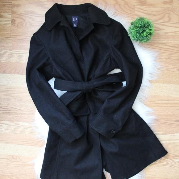 Gap Womens Tie Waist Black Wool Coat XL EUC